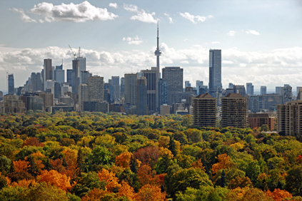 View of downtown Toronto rising above its parkland