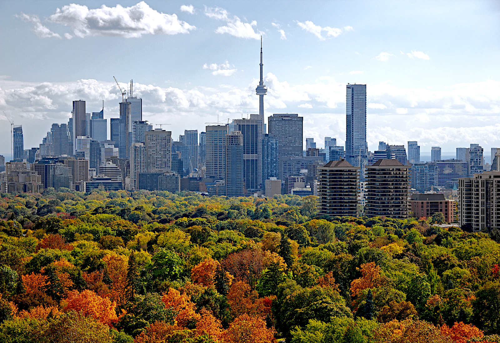 Downtown Toronto rises above its multicolor parkland